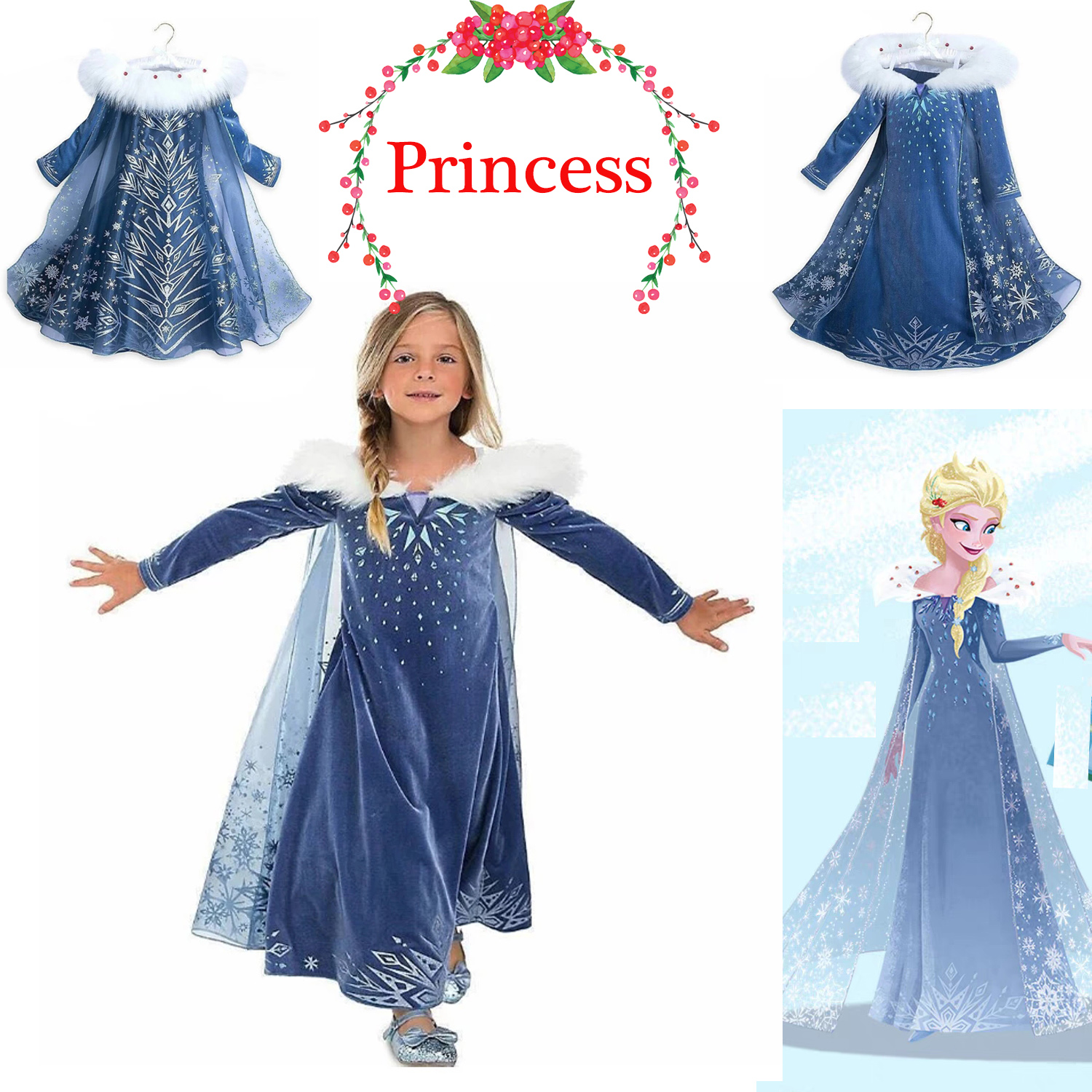 Clothing, Shoes & Accessories Frozen Elsa Anna Kids Girls Dress Costume Princess Party Fancy Xmas Christmas