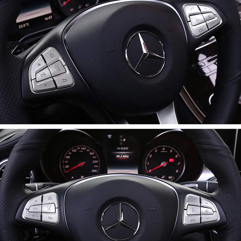 12) abs steering wheel buttons covers trim for benz c-class w205