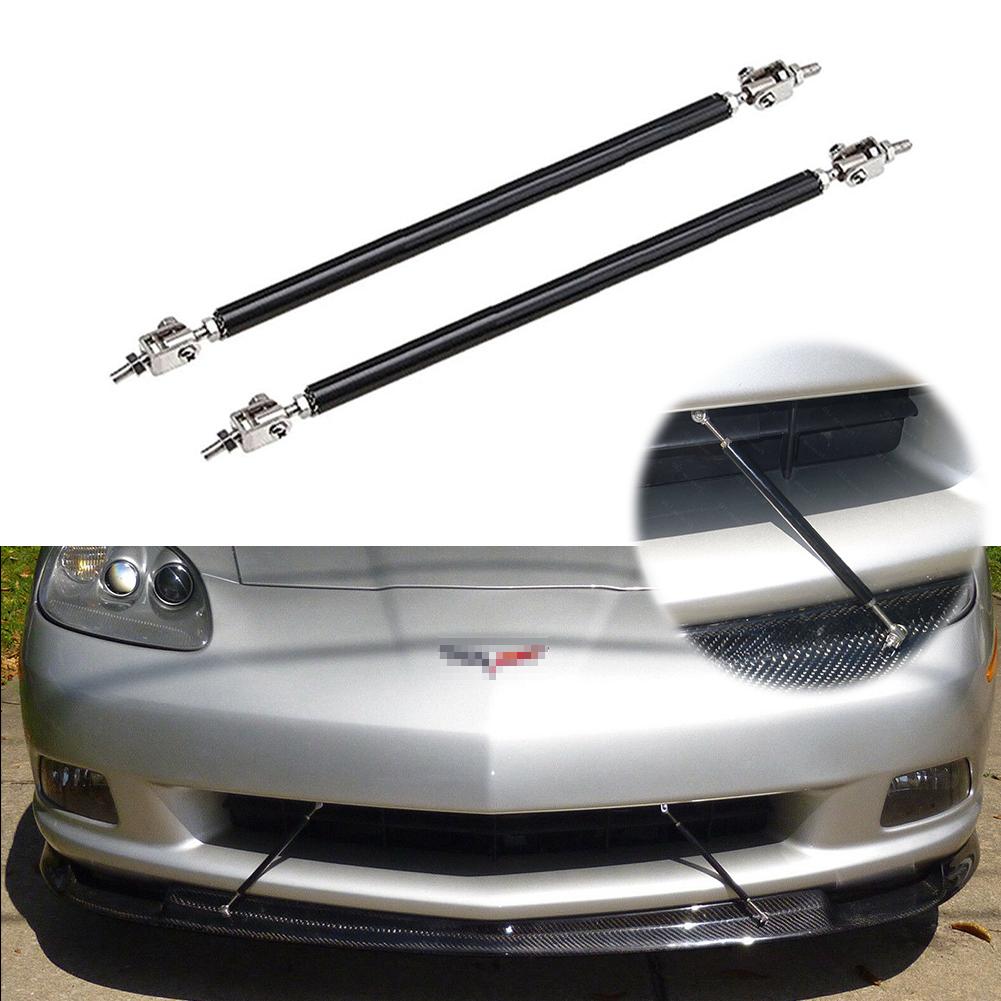 2 X Black Stainless Steel Adjustable Car Front Bumper Lip Splitter Rod Tie Bars