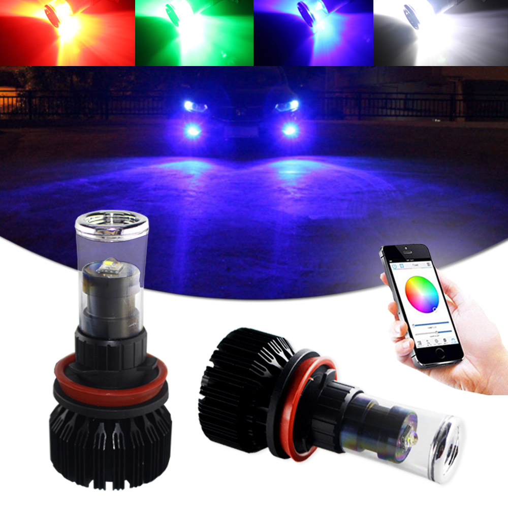 2x App Wireless Remote RGB P13W  Multi-Color LED Bulbs For Fog Light Daytime DRL