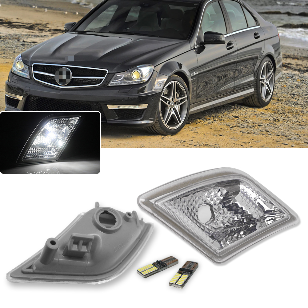 Replace OEM Amber Sidemarker Lamps iJDMTOY Euro Clear Lens Amber LED Bulb Front Side Marker Light Kit Compatible With 2008-11 Mercedes Pre-LCI W204 C250 C300 C350 /& 2008-2013 C63 AMG