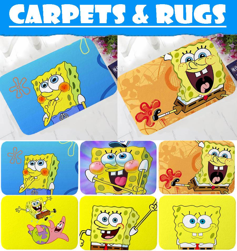 Home SpongeBob Print Fannel Carpet/&Rug Indoor Bath Kitchen Anti-skid Floor Mats