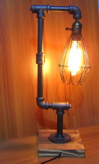 Iron pipe table desk lamp light retro industrial style metal wire iron pipe table desk lamp light retro industrial style metal wire cage shade greentooth Choice Image