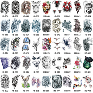 039846246fa 45 Designs Women Leg Body Art Tattoo Sticker Wolf Skull Pattern ...