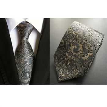 US026 Men Dark Gray Paisley Floral Silk Tie Pocket Square Handkerchief Set Lot