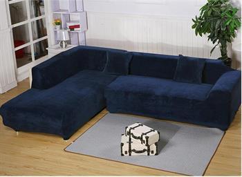 Details about 2 Seats 3 Seats Plush Stretch Sure Fit L-shaped / Sectional  Sofa Slip Covers Set