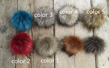 Faux Fur Pom pom bobble with press stud Handmade Pompom for Hat Mink Raccoon  DIY 5cfb0f6d13a0