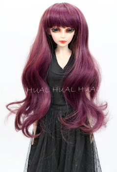 8-9 1//3 BJD Light Brown Wine Mix Curly Wave Long Wig LUTS Doll DOD Hair
